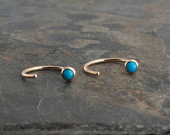Small Turquoise Stone Round Open Hug Hoop Earrings, Dainty Earrings Hugging Hoop Earrings,  Gold Handmade Earrings Tiny Earrings 3mm