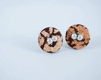 Rose Gold Flakes . Chocolate Brown . Glass Pearl . Maroon Thread . Hypoallergenic . Surgical Steel Post - Sewing Button Stud Earrings