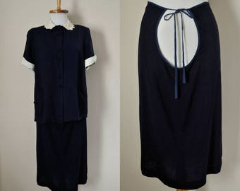 Vintage Maternity Dress 1940s Jacket Shirt Skirt / 40s Womens Pregnancy Suit Set / Size M L / Navy Blue White Floral Fourth 4th of July