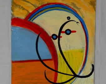 Vintage Modern Abstract Oil Painting on Canvas Panel