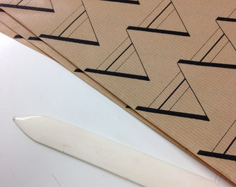 Geometric Pattern Screen Printed Wrapping Paper, Black Triangle Print on Kraft Paper, Hand Printed
