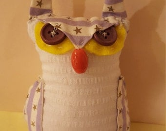 Whimsical Handmade Stuffed Owl - Made to Order