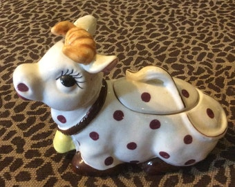 Vintage Vcagco Japan Cow covered Dish Condiment Pokadot Cow