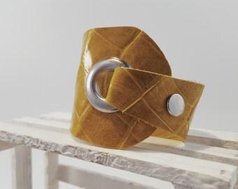 Asymmetrical Leather cuff,Leather bracelet,Women bracelet,Yellow leather bracelet,Lacquered leather cuff,Street sytyle,Elegant Cuff