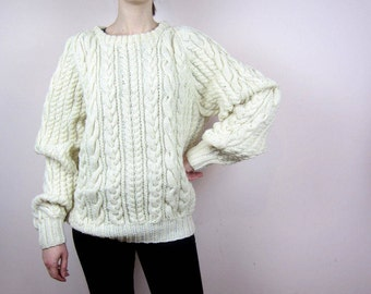 vintage Chunky Knit cream wool sweater