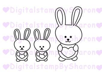 Bunny digital stamp, digital stamp images, digital stamp downloads, digital stamps for card making, digital stamp jpg, bunny clipart, stamp