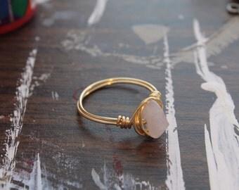 Rose Quartz & Gold Ring