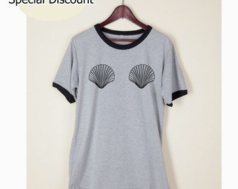 Shell Boop Shirt Tshirt Tumblr Funny Wording Quote Light Gray and White on Chest