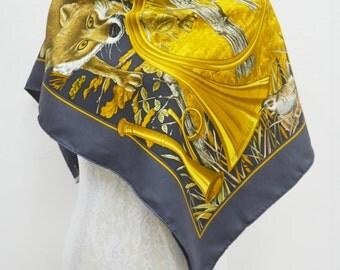 "Stunning Vintage Hermes Paris ""Chasse au Bois"" by Carl De Parcevaux Silk Scarf 100% Authentic Made in France"