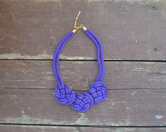 Purple rope necklace/ Knot Necklace/ Bib necklace/ Jewelry/ Necklace for her/ Gift for her