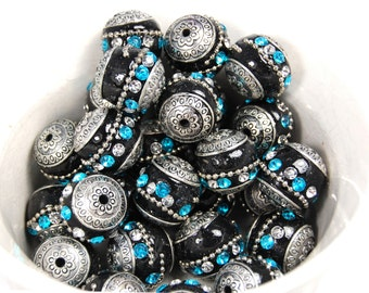 10/pc Handmade Indonesia Beads, Silver, Black and Turquoise