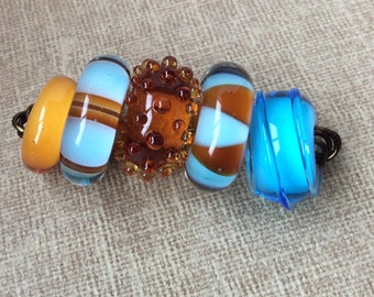 Handmade Glass Lampwork Beads | Large Hole Beads | Artisan Glass Beads | Blue | Topaz Brown | Big Hole Beads | Donut Beads | Rondelle Beads