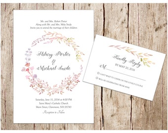 Floral Wreath Wedding Invitation & RSVP Card, DIY/Printable