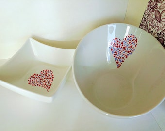 Painted hearts serving bowls