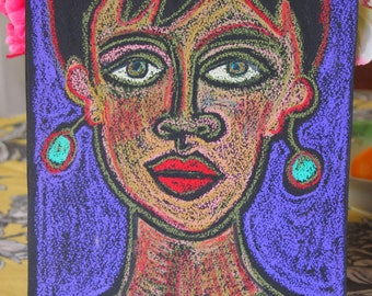 Strong Woman Pastel on Paper