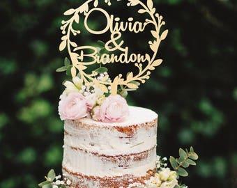 Wooden Cake Topper Wreath Cake Topper Names Cake Topper Custom Cake Topper Custom Cake Topper Wedding Cake Topper Golden Cake Topper