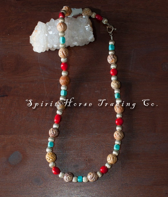 """Soapstone, Turquoise, Coral Necklace with silver accent beads. 17.5"""" long. Unique, one of a kind."""