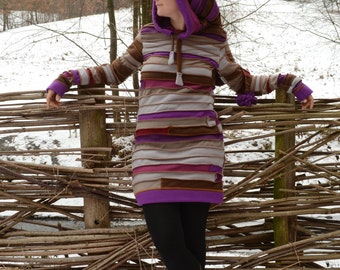 OOAK Purple Elf Dress Hoodie, Upcycled fabric,Homemade