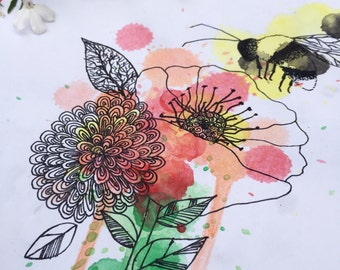 Busy Bee - Watercolour and Ink