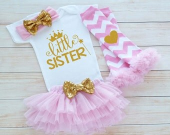 Baby Sister Outfit, Baby Shower Gift, Take Home Shirt, Little Sister Outfit, Baby Outfit, Little Sister Bodysuit, Baby Girl Gift, Baby Tutu