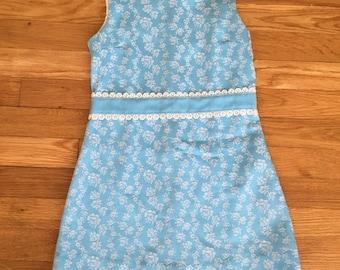 1960's peaches 'n cream baby blue & white floral sheath dress - size 7
