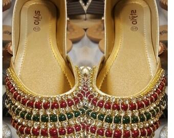 Handmade Stylish Khussa with stones & Beads