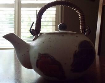 Vintage Japanese teapot, OMC hand painted ceramic teapot Otagiri Mercatile Company ca 1970s