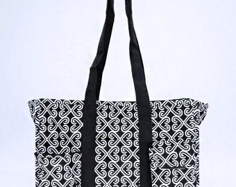 Organizer Utility Tote Fushia or Black, Nurse tote, Carryall Tote, teacher bag, beach bag, diaper bag, weekend bag, summer tote, trip bag