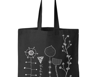 cotton bag with print. tote bag. Black