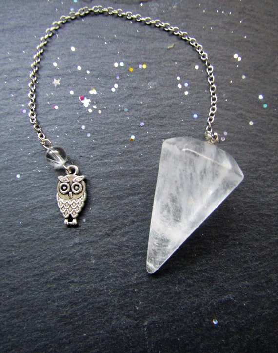 Clear Quartz Clarity Pendulum with Owl, Pendulum, divination, Yes No pendulum reading,  pendulum dowsing, tarot reading, Quartz pendulum