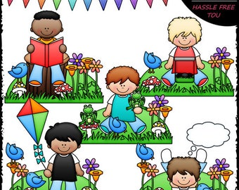 Spring Boys Clip Art and B&W Set