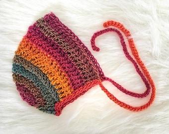 Crochet Newborn Bonnet, Newborn Bonnet, Newborn Photo Props, Baby Photo Props, Newborn Photography Props, Baby Hat, Newborn Hat
