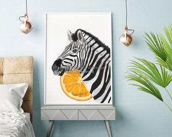 Zebra Print, Zebra Painting, Zebra Art, Zebra Wall Art, Home Decor Wall Art, Home Decor Prints, Living Room Decor, Zebra Decor, Safari Print