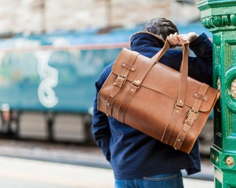 Leather Duffle Bag, Men's Cabin Luggage, Luxury Carry Lite Holdall, Weekend Bag, Carry on Baggage, Vegetable Tanned, Full Grain Leather