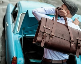 Men's Leather Duffle Bag, Cabin Luggage, Carry Lite Holdall, Weekend Bag, Carry on Baggage, Vegetable Tanned, Full Grain Leather