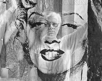 Andy Warhol looking through Marilyn Monroe image - Andy Warhol Poster - Andy Warhol Print - Warhol - 8x10 - 11x14 - 16x20 - (TD0017)