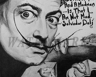 Salvador Dali,  Salvador Dali photograph, Dali black and white photo print, boho vintage, Wall Art - Decor - 8x10 - 11x14 - 16x20 -TS000399