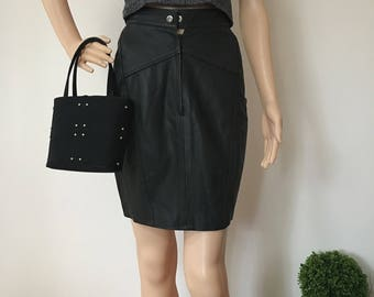 80s 90s Genuine Leather Black Pencil Skirt Punk Grunge XS Extra Small