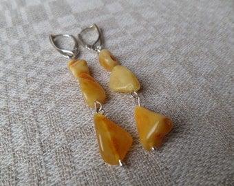 Genuine Baltic Amber Butterscotch Earrings 925 Sterling Silver (0016)