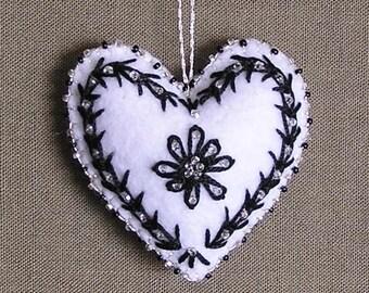 Felt Heart Ornament - black and white