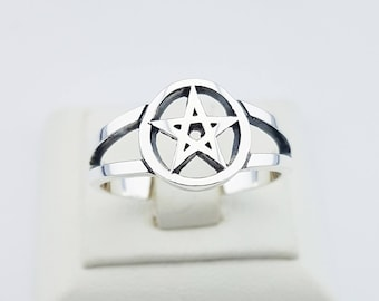 Pentagramm Silver 925 Ring, Gothic Rings,Silver Signet Ring