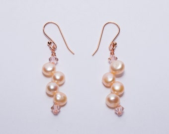 Rose Gold Pearl Wedding Earrings