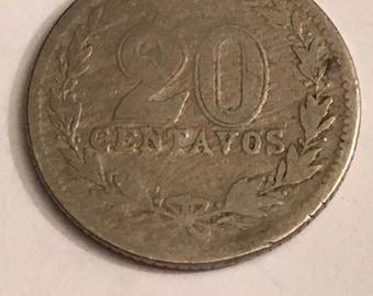 1918 Argentina 20 centavos coin