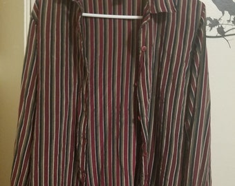 Vintage Silk striped button down Men's small