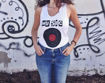 Unisex Tee Music is in my Soul for Summer // Genderless // Vinyl record hand painted