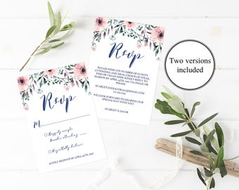 Floral Wedding Rsvp Cards Wedding Pink Wedding Invitation Insert Flower Wedding Response Cards Rsvp Template Rsvp Card Template Insert Cards