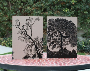 10 Blank Notecards-Watercolor Tree Silhouette