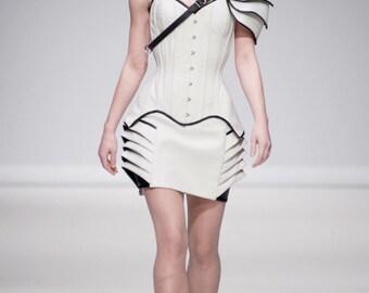 White Vinyl Corset Dress