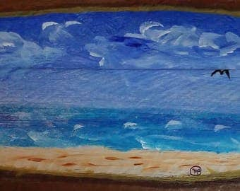 Blustery But Better - An Original Acrylic Painting on Wooden Fence - Part of the Hurricane Matthew - The Through The Fence Series
