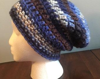 Slightly Slouchy Blue Chunky Beanie Hat